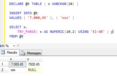 sql server - Convert string numeric values with comma as