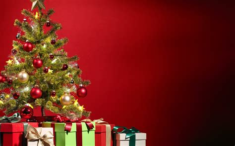 Christmas tree and gift boxes - Red background