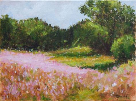 Pink Landscape Flowers – Oil Painting   Fine Arts Gallery